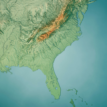 3D Render of a Topographic Map of the South Atlantic US States.  All source data is in the public domain. Color texture: Made with Natural Earth.  http://www.naturalearthdata.com/downloads/10m-raster-data/10m-cross-blend-hypso/ Relief texture: GMTED2010 data courtesy of USGS. URL of source image:  https://topotools.cr.usgs.gov/gmted_viewer/viewer.htm Water texture: World Water Body Limits: Humanitarian Information Unit HIU, U.S. Department of State http://geonode.state.gov/layers/geonode%3AWorld_water_body_limits_polygons Boundaries: Humanitarian Information Unit HIU, U.S. Department of State (database: LSIB) http://geonode.state.gov/layers/geonode%3ALSIB_10