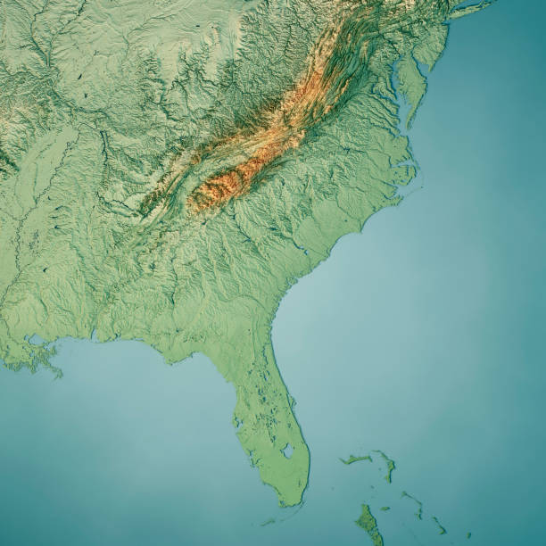 South Atlantic US States 3D Render Topographic Map Color stock photo