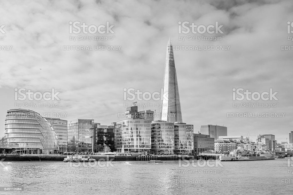 South Bank with the Shard in London, UK stock photo