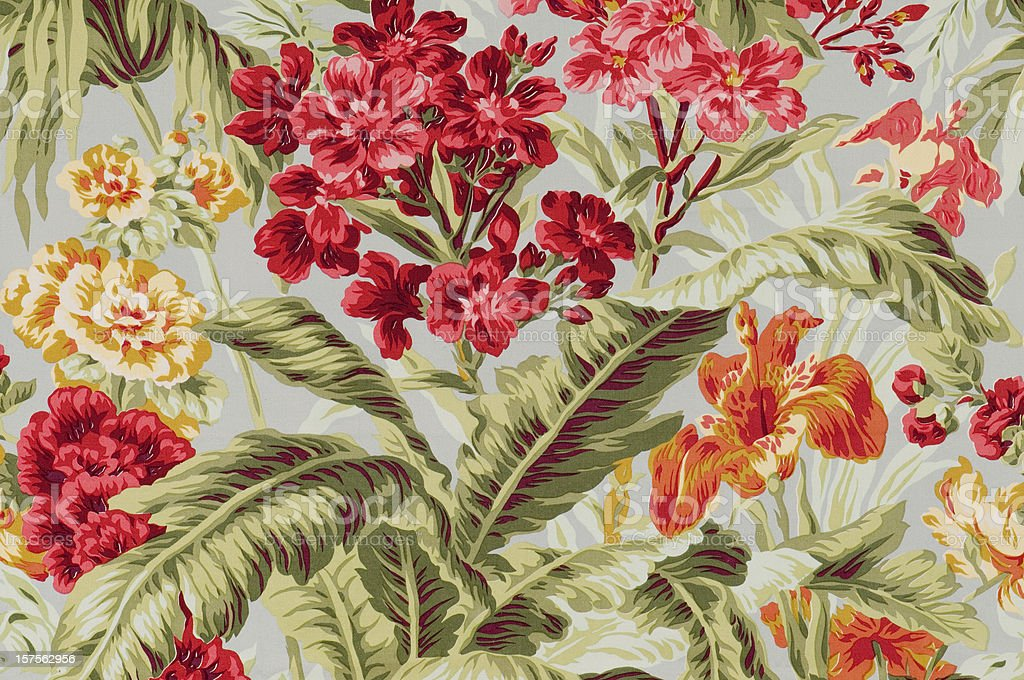 South Beach Floral Close Up Vintage Fabric stock photo