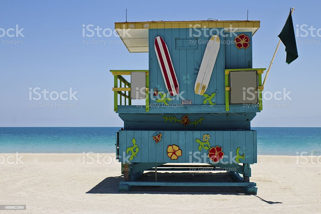South Beach lifeguard hut in Miami, Florida stock photo