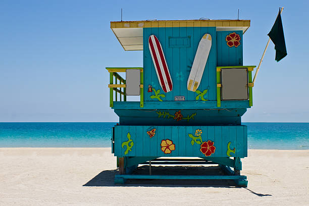 South Beach lifeguard hut in Miami, Florida stock photo