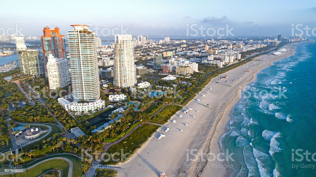South Beach Miami Florida Skyline Aerial View stock photo