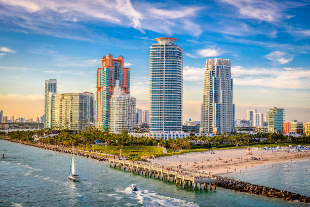 south beach, miami, florida, usa - south stock pictures, royalty-free photos & images