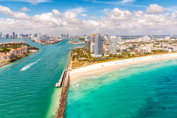 South Beach Miami From Above stock photo