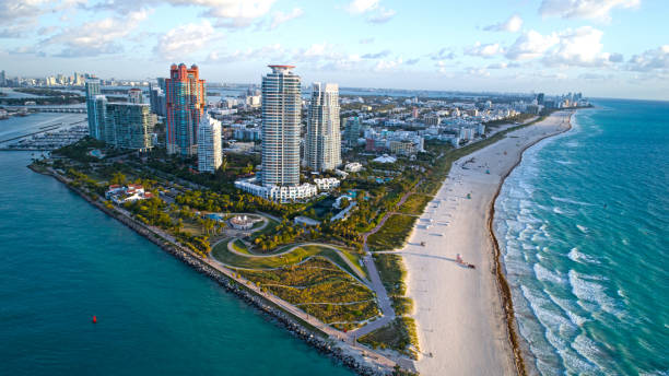 south beach miami sunrise aerial overview sunny beach and waves - south stock pictures, royalty-free photos & images
