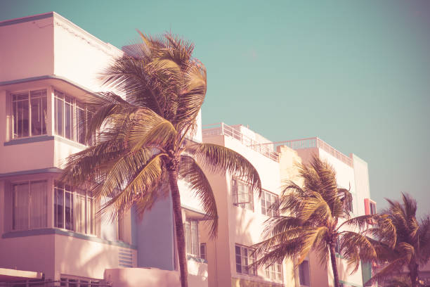 South Beach Palms and Art Deco stock photo