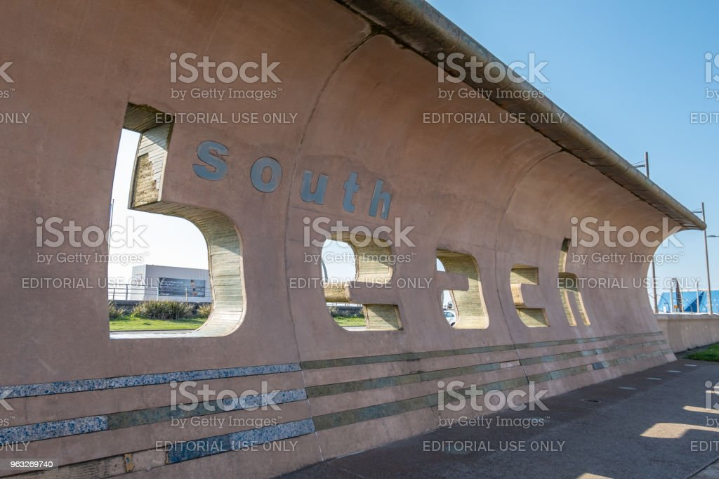 South Beach sign in Blackpool stock photo