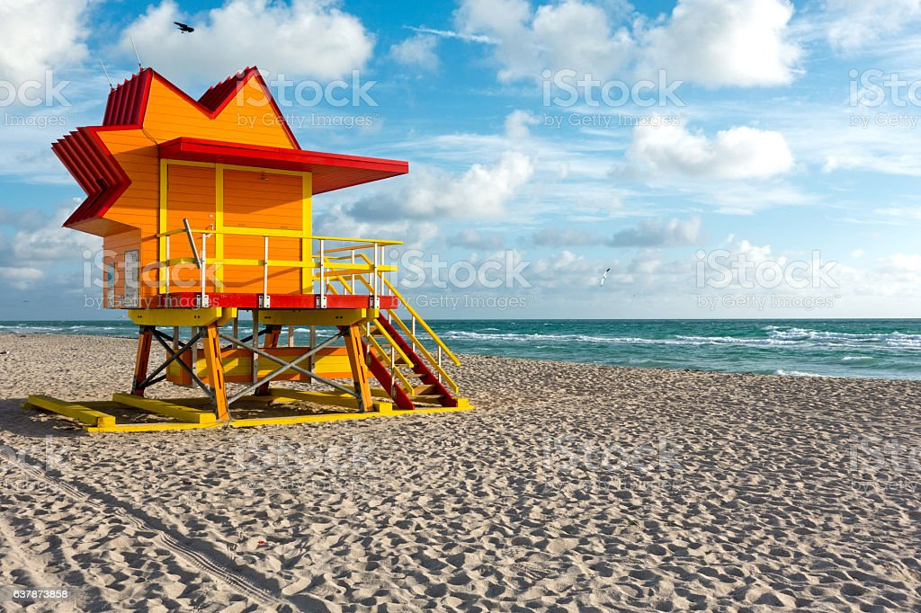 South Beach Sun Shaped Lifeguard Hut Art Deco Style Miami stock photo