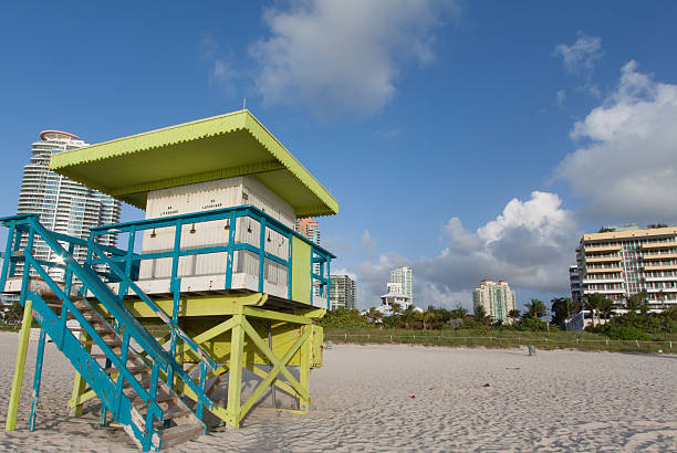 South beach view from lifeguard station stock photo