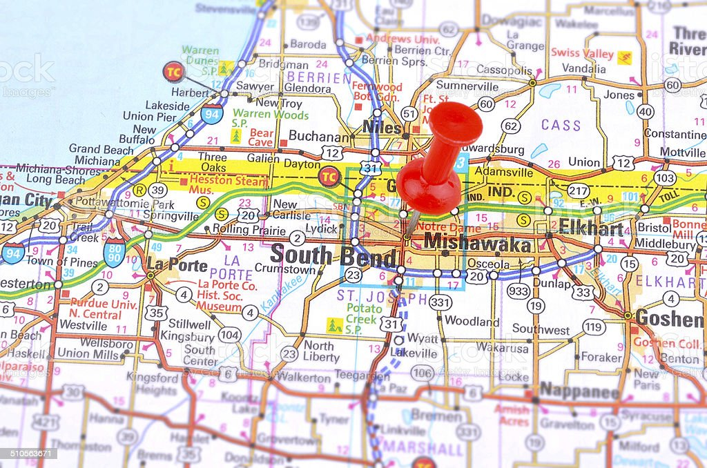 South Bend and Map stock photo
