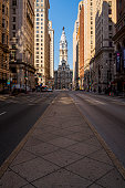 Aerial view on the Philadelphia City Hall over South Broad Street deserted because of the COVID-19 Coronavirus Pandemic.