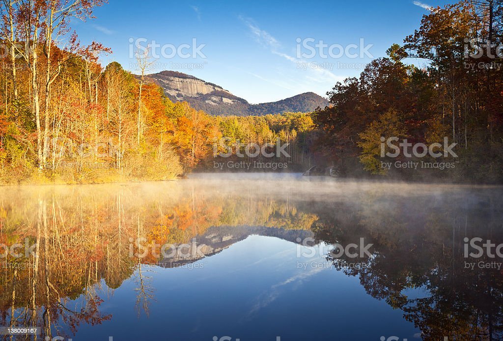South Carolina Autumn Sunrise Landscape Table Rock Fall Foliage Reflections stock photo