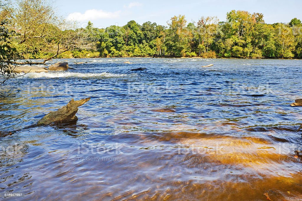 South Carolina Catawba River Views from Rock Hill's Riverwalk stock photo