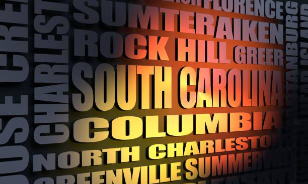 south carolina cities list - charleston sc map stock photos and pictures