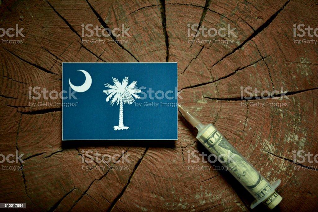 South Carolina flag on a stump with syringe injecting money in flag stock photo