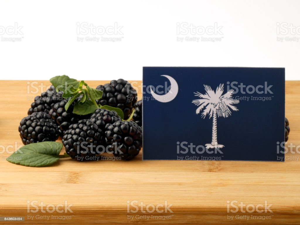 South Carolina flag on a wooden panel with blackberries isolated on a white background stock photo