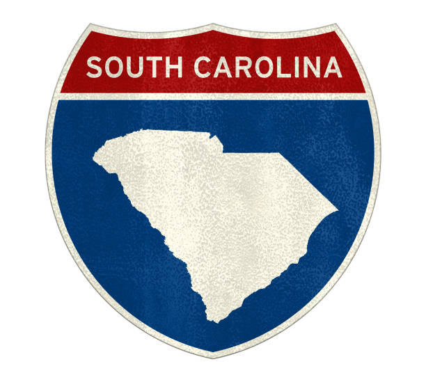south carolina interstate road sign - charleston sc map stock photos and pictures