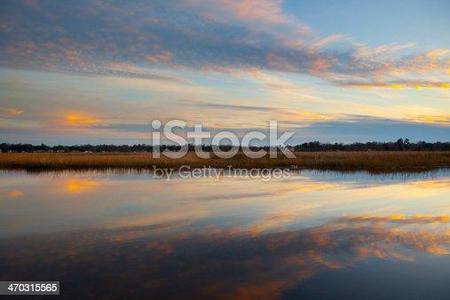 A tidal marsh at sunset in North Charleston, South Carolina.