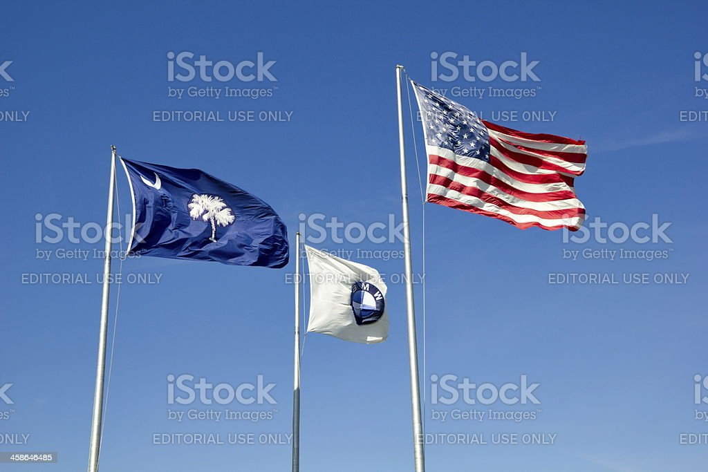 USA , South Carolina State and BMW Corporate Flags Together royalty-free stock photo