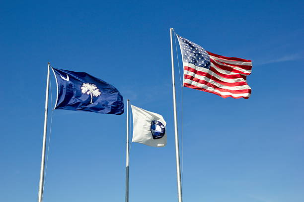USA , South Carolina State and BMW Corporate Flags Together stock photo