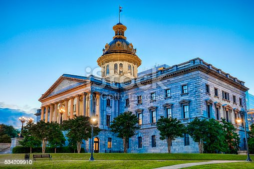 The South Carolina State Capitol Building in Columbia at night.