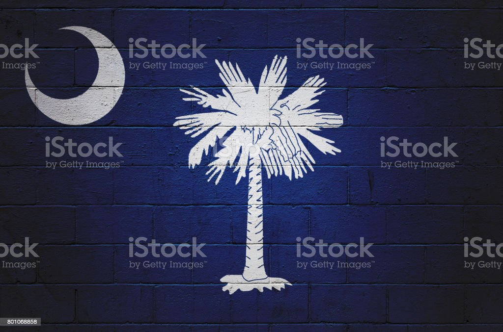 South Carolina state flag painted on a wall stock photo