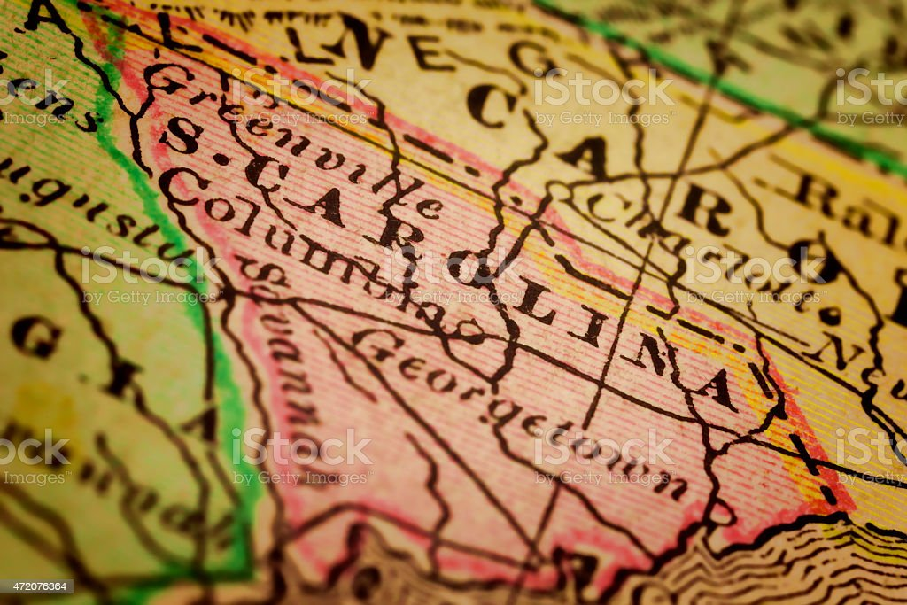 South Carolina State on an Antique map stock photo