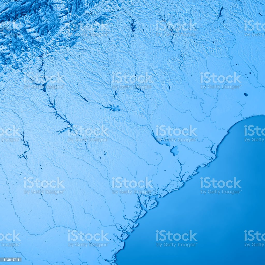 South Carolina State Usa 3d Render Topographic Map Blue Stock Photo ...