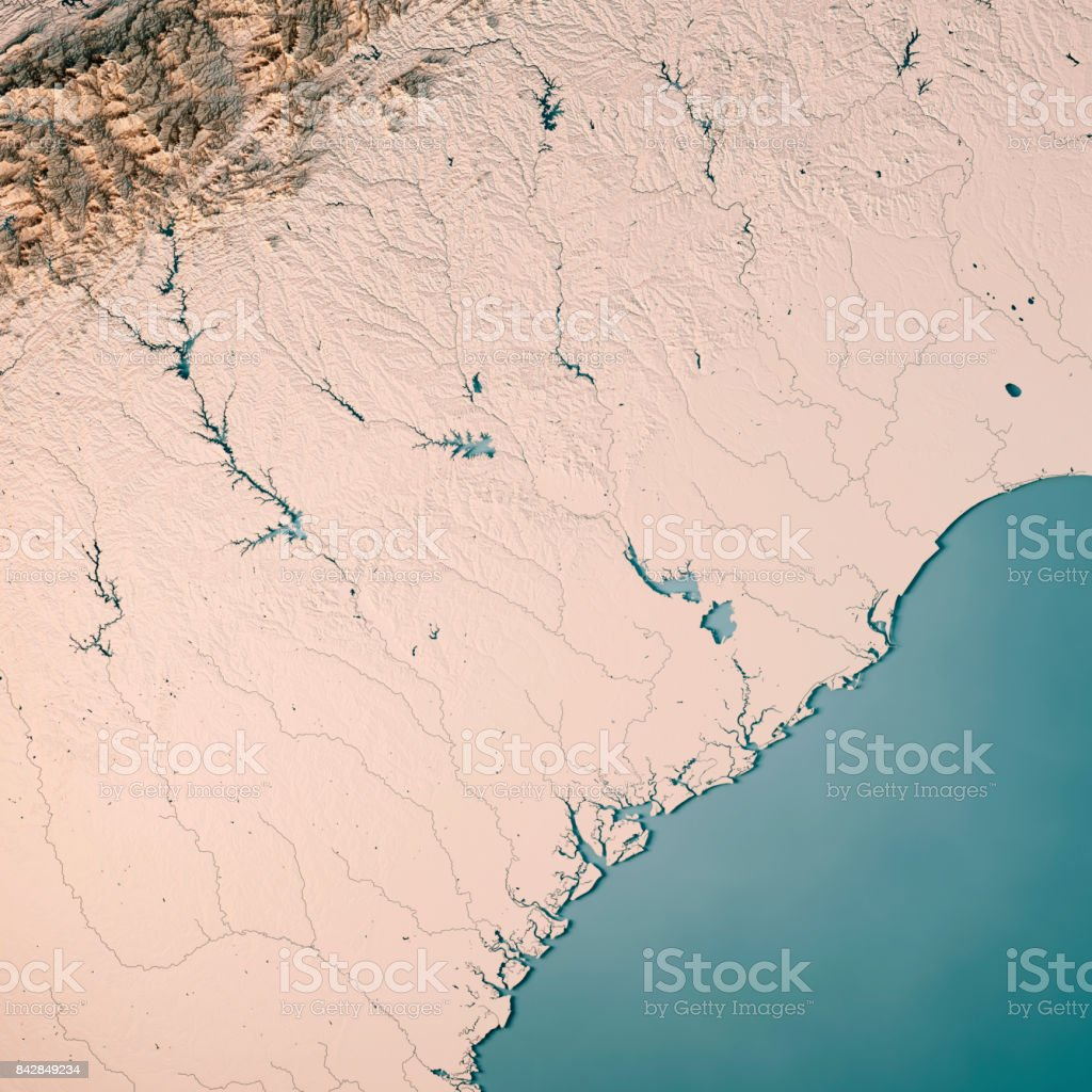 South Carolina State Usa 3d Render Topographic Map Neutral Stock ...