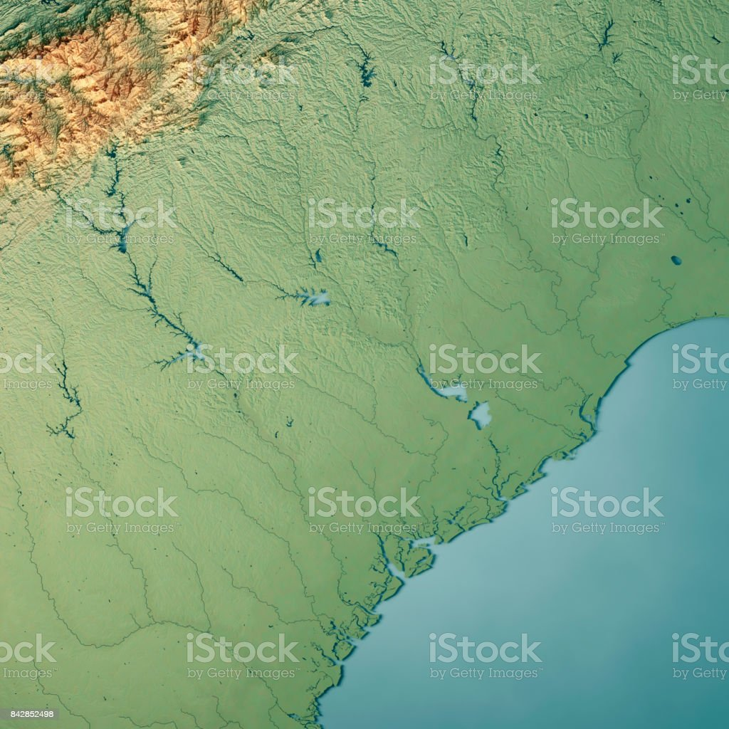 South Carolina State Usa 3d Render Topographic Map Stock Photo ...