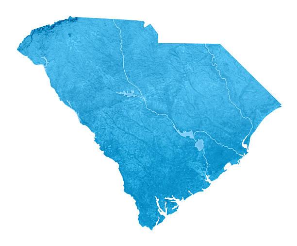 South Carolina Topographic Karte Isoliert – Foto