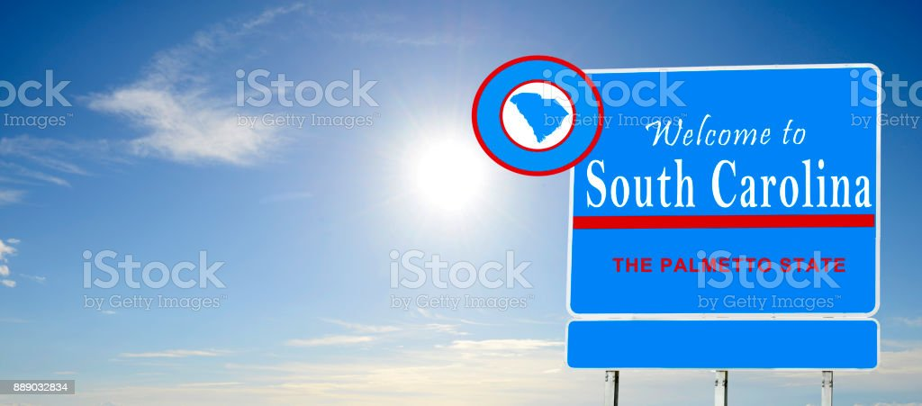 South Carolina, Welcome road sign stock photo