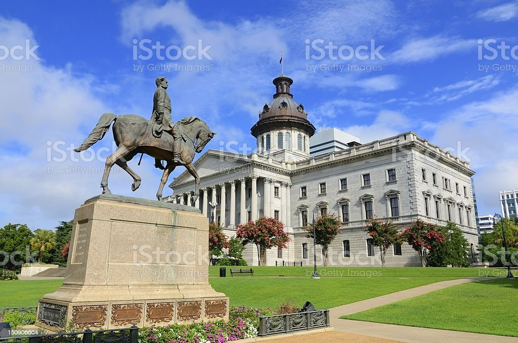 South Caroline State House with statue on clear day stock photo