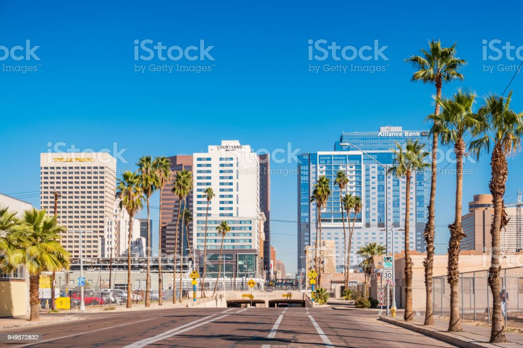 South Central Avenue in downtown Phoenix Arizona USA stock photo