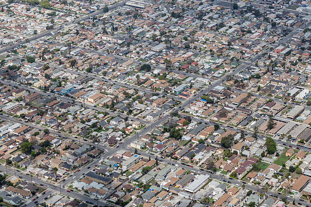 south central los angeles aerial - midsection stock pictures, royalty-free photos & images