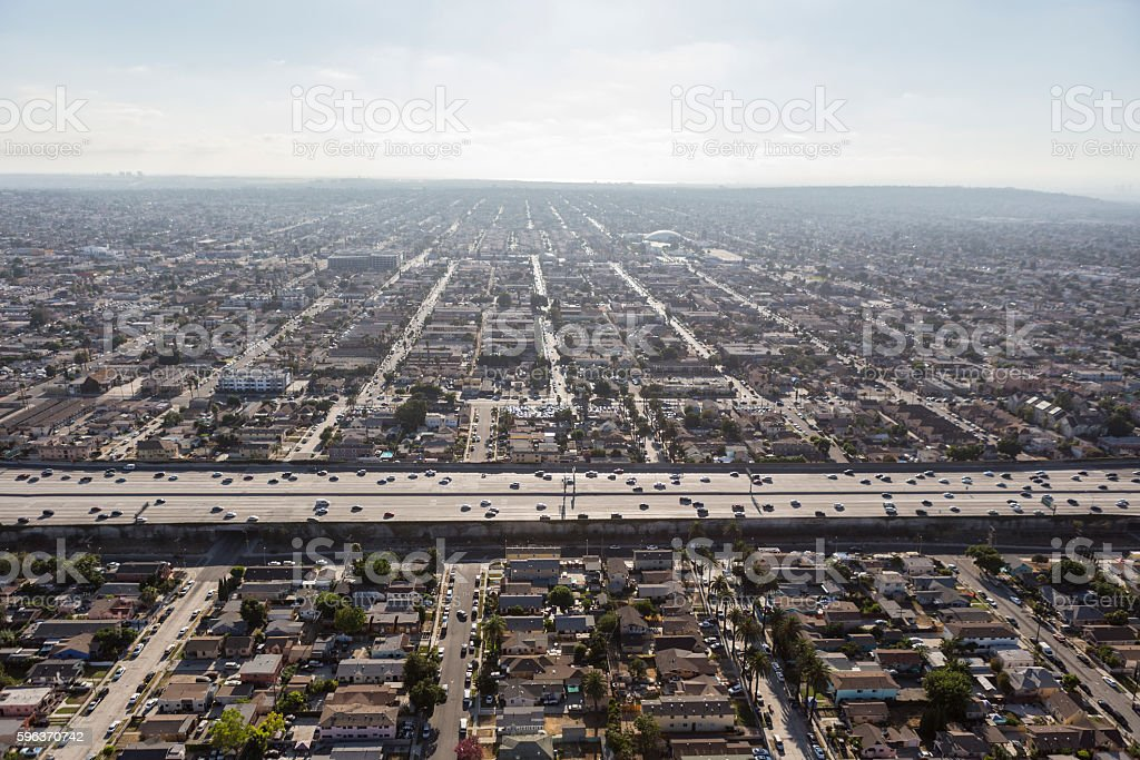 South Central Los Angeles Smog and Sprawl Aerial stock photo