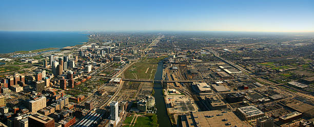 luftbild von süden chicago - in den süden stock-fotos und bilder