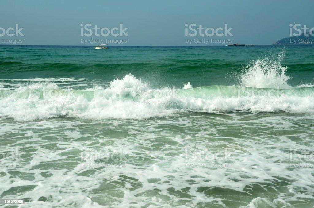 South China Sea Beach, Hainan; Sanya, Yalong Bay, may 2011 stock photo