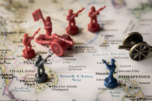 South China Sea conceptual image of war stock photo
