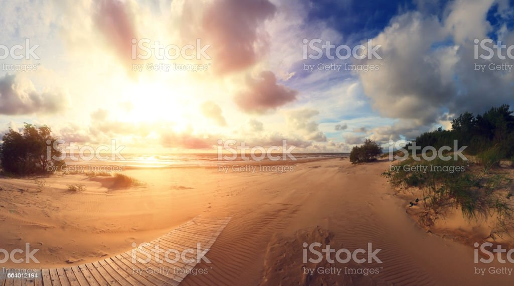South coast at the sunset stock photo