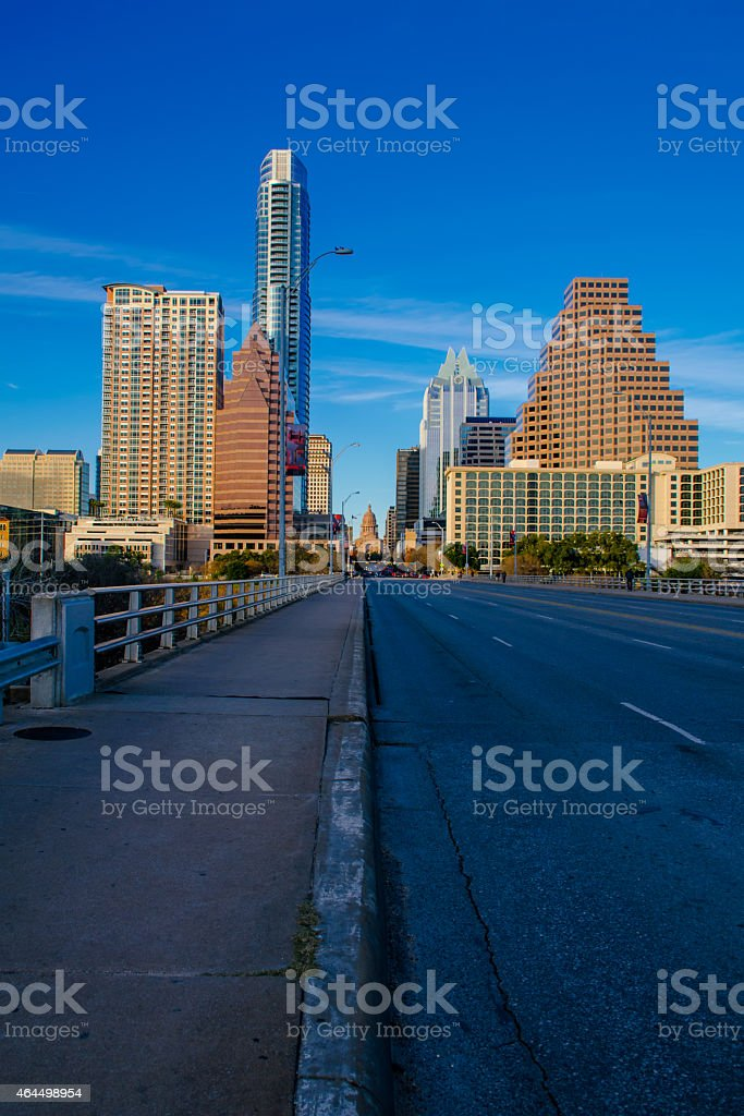 South Congress Avenue Bridge Texas Capitol Downtown Perspective stock photo
