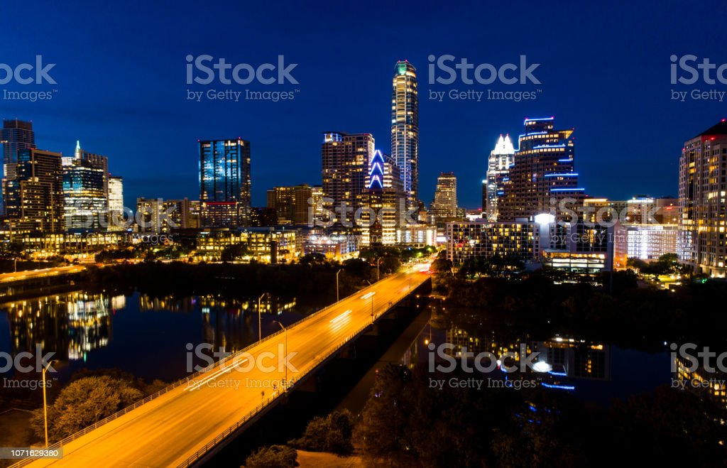 South congress bridge time lapse nightscape - Austin , Texas stock photo