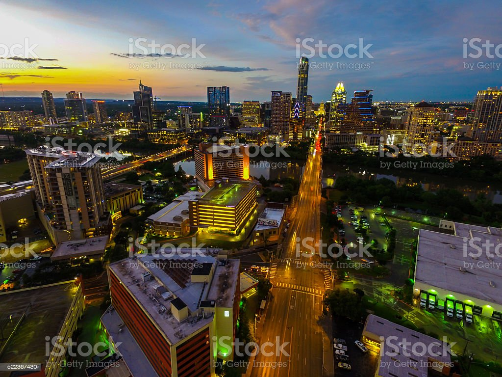 South Congress Sunset Aerial Beauty Over Capital Cities stock photo