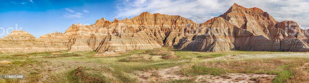 South Dakota Badlands Panorama stock photo