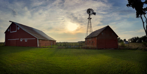 south dakota barnyard with windmill - farm stock pictures, royalty-free photos & images
