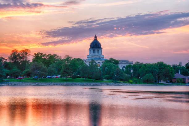 South Dakota Capital Building at Sunset stock photo
