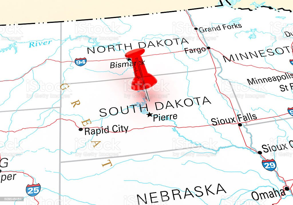 South Dakota Map Stock Photo IStock - South dakota in usa map