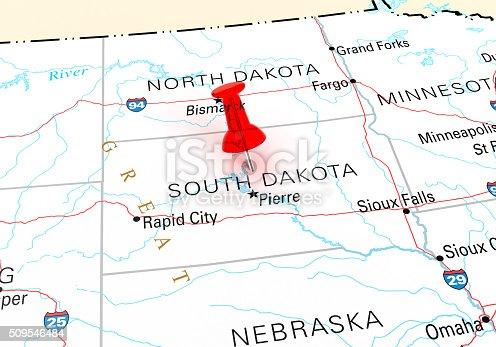 Red Thumbtack Over South Dakota State USA Map. 3D rendering