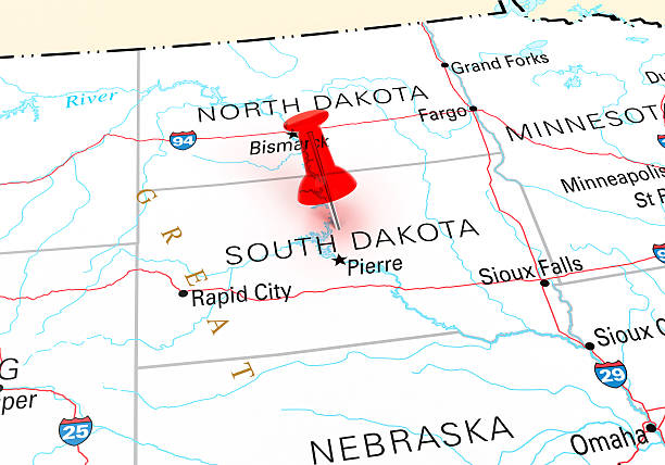 South Dakota Map Red Thumbtack Over South Dakota State USA Map. 3D rendering oregon us state stock pictures, royalty-free photos & images